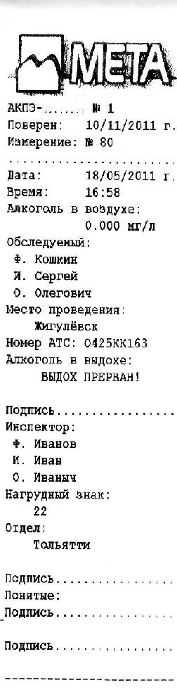 Протокол измерений при освидетельствовании на алкоголь из прибора АКПЭ 01.01 Мета